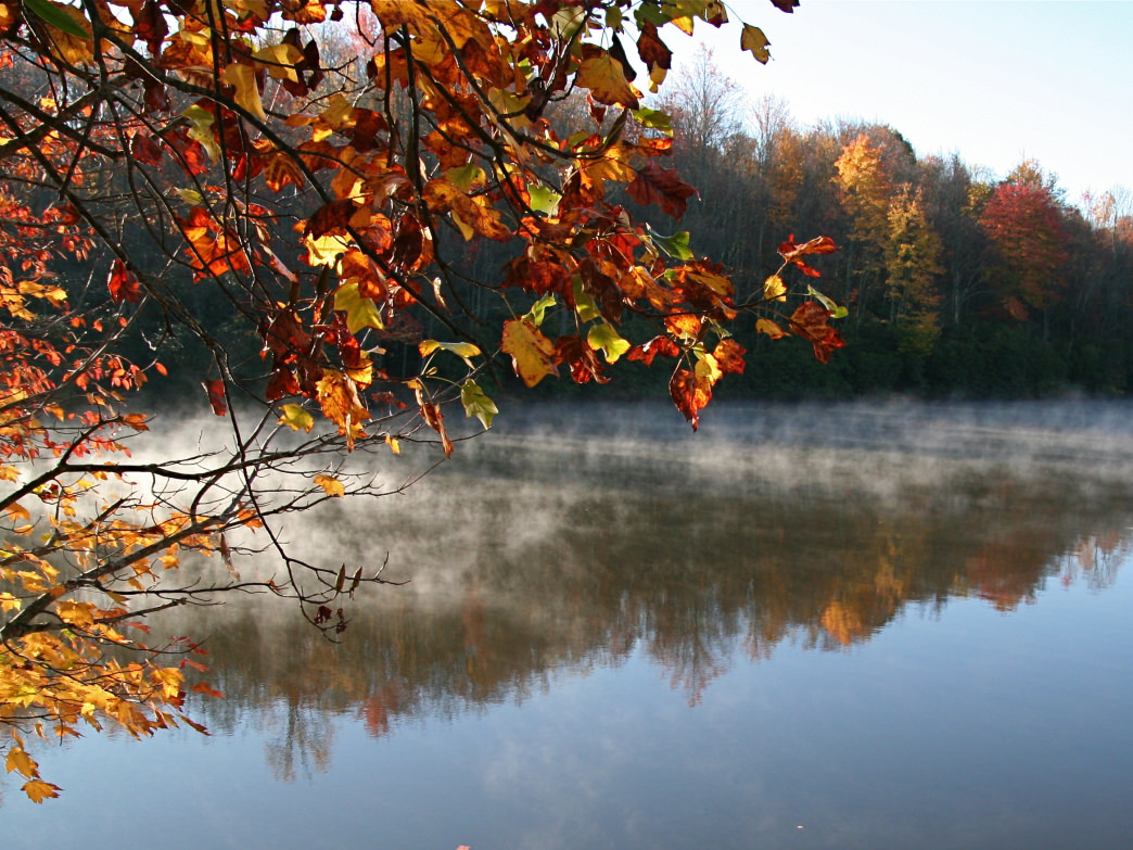 A crisp morning at Price Lake on the Blue Ridge Parkway.