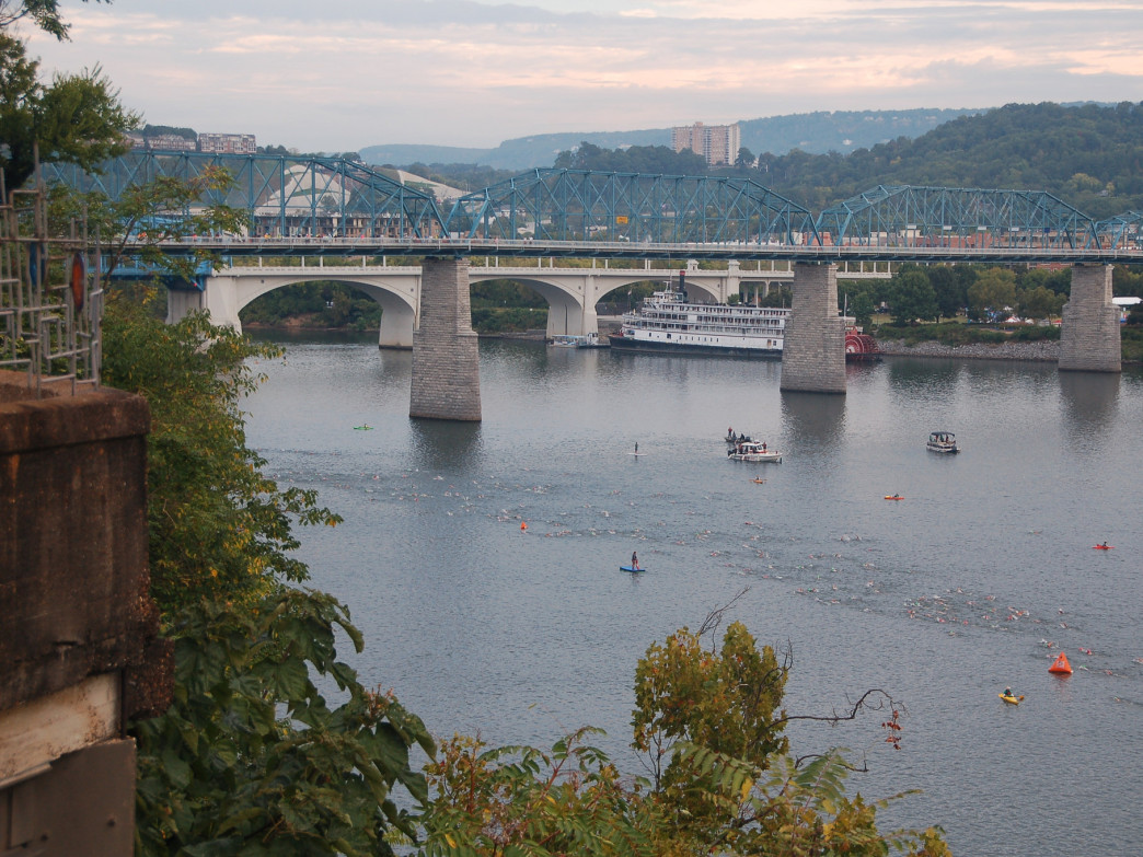 Swimmers on the course at Ironman Chattanooga.