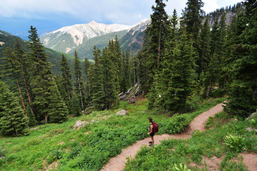 Hiking the Ice Lakes Trail in Colorado's San Juan National Forest.