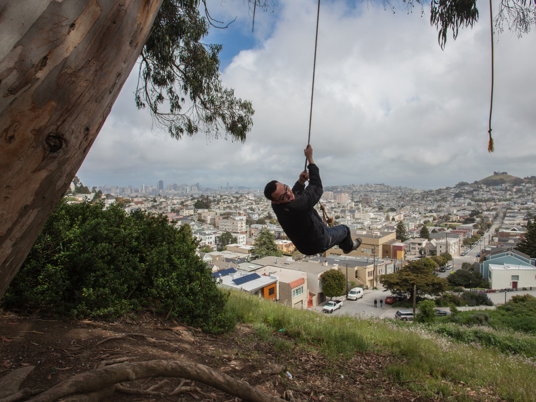 Soar above the skyline on a rope swing.