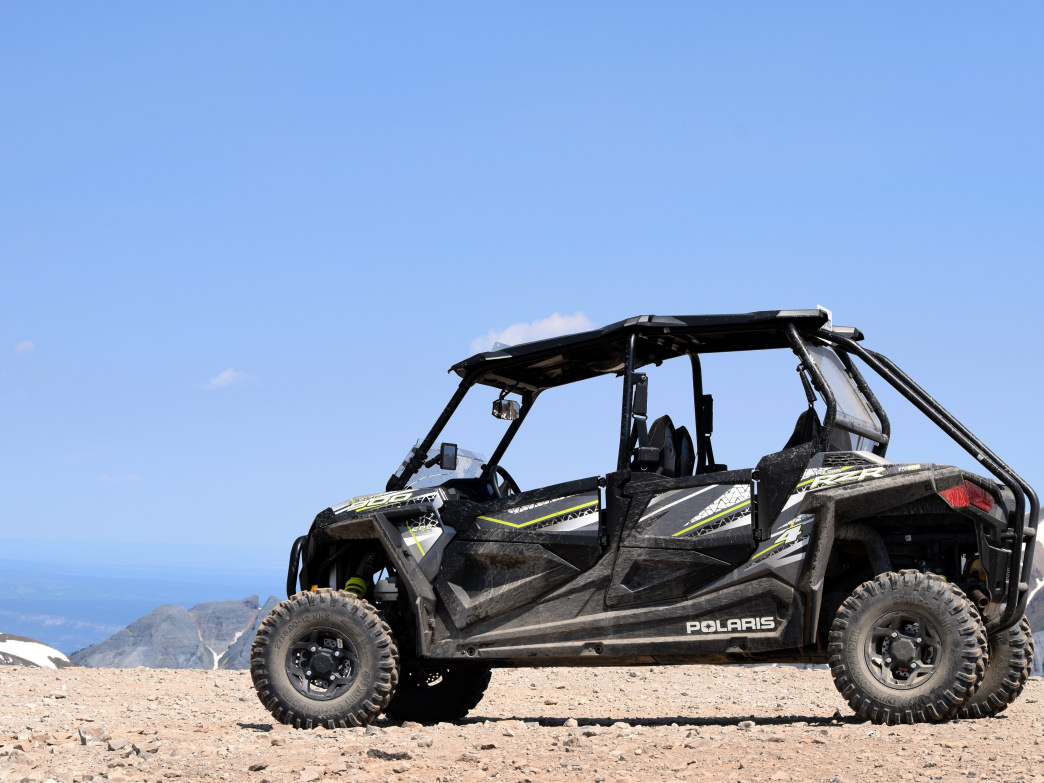 The Polaris RZR at the top of Engineer Pass.