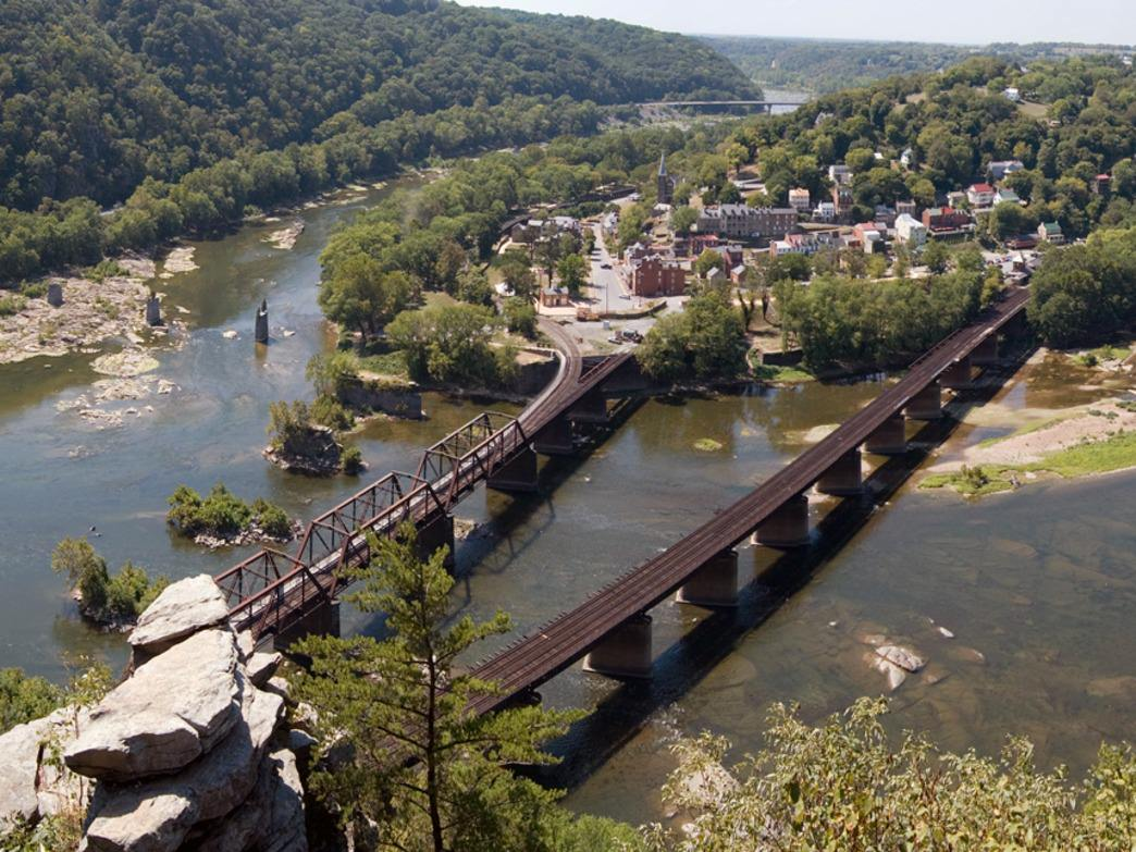 Aerial shot of the Shenandoah and Potomac River confluence at Harpers Ferry, West Virginia