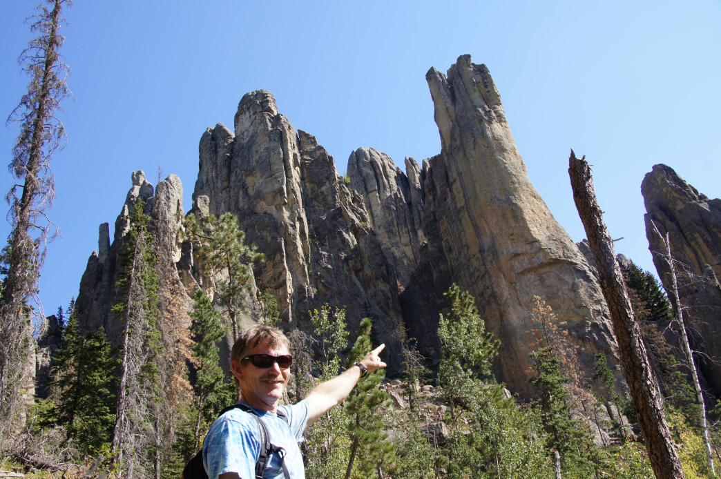 A look up at Cathedral Spires, South Dakota.