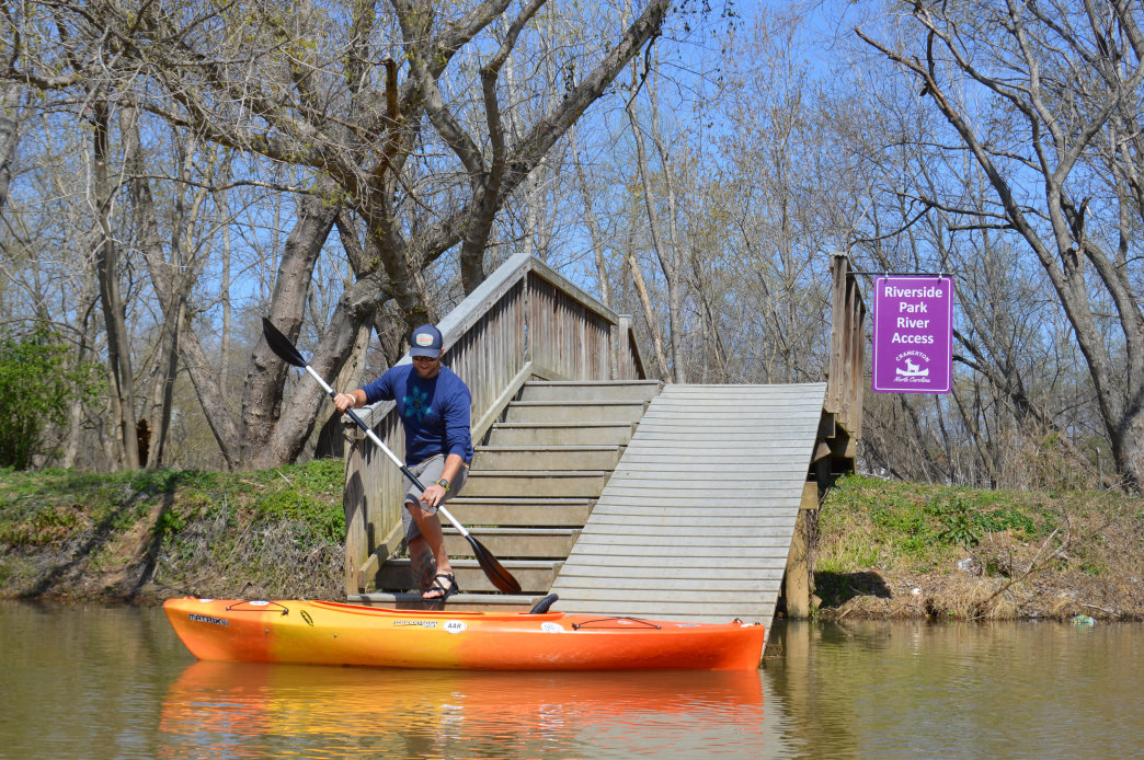 The Cramerton Riverside Park kayak launch.