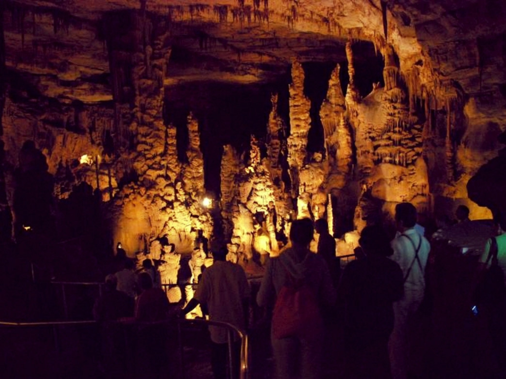 Visitors gather at a scenic viewpoint on the Cathedral Caverns tour.