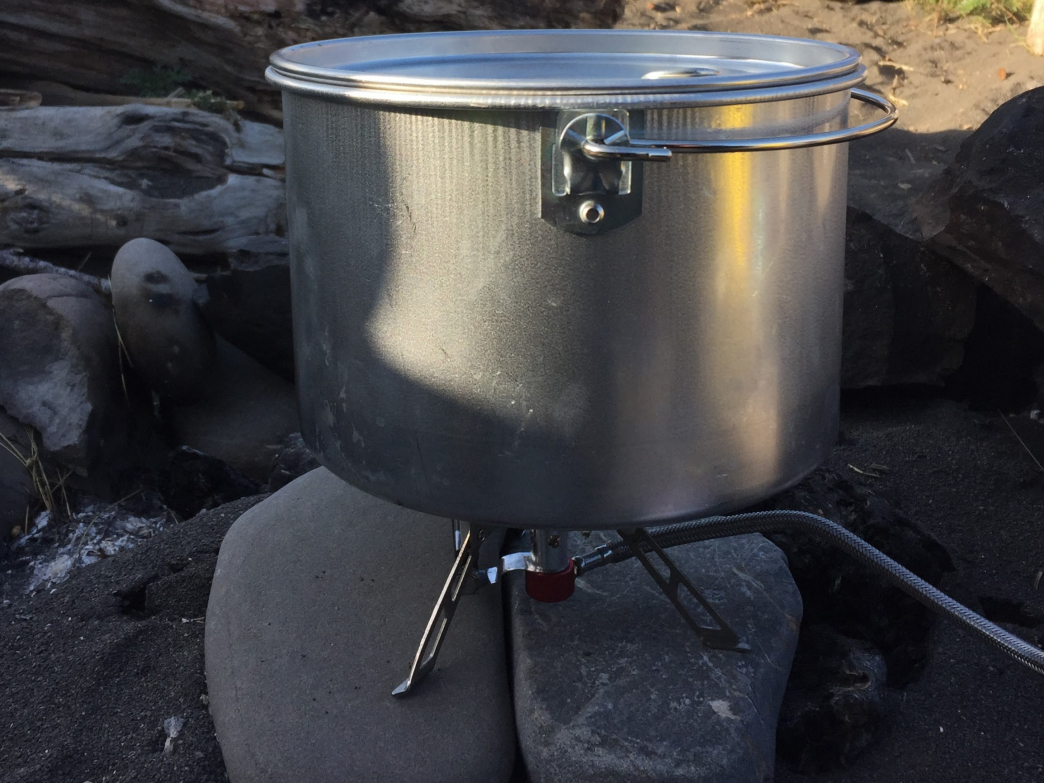 Pot and burner at the campsite.