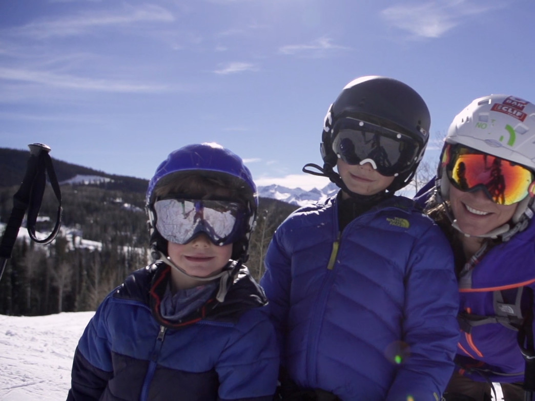 Hilaree O'Neill skiing with her sons Quinn and Grayden on the Telluride Ski Resort.