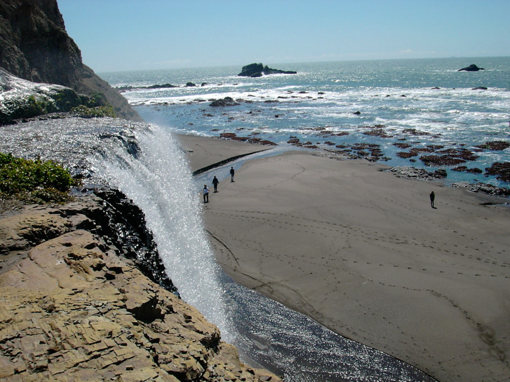 Alamere Falls tumbling towards the beach in Point Reyes.