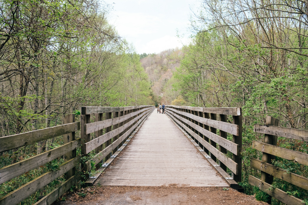 The Virginia Creeper Trail is one of the region's gems. Cyclists of all abilities can start at Whitetop Station and enjoy a downhill ride into Damascus—with stunning scenery the entire route.
