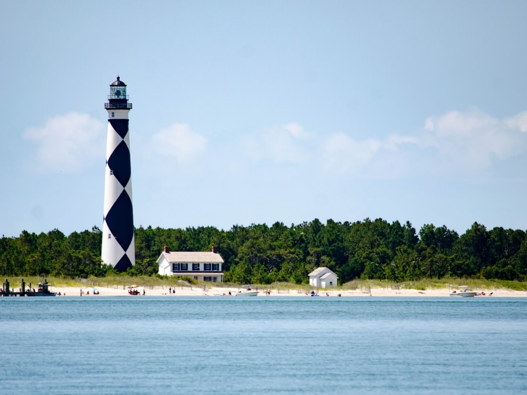 The Cape Lookout Lighthouse.