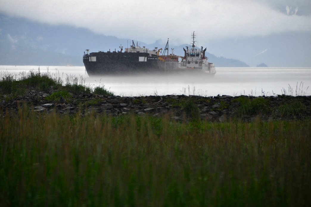 A barge in the fog in Valdez
