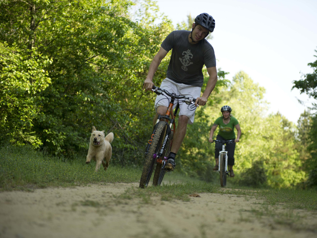 Mountain bikers on the Augusta Towpath.