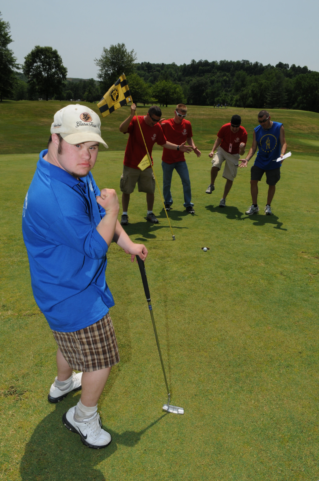 The Special Olympics have held golf tournaments at Coonskin Park. Here, Spencer Stemple celebrates his putt.