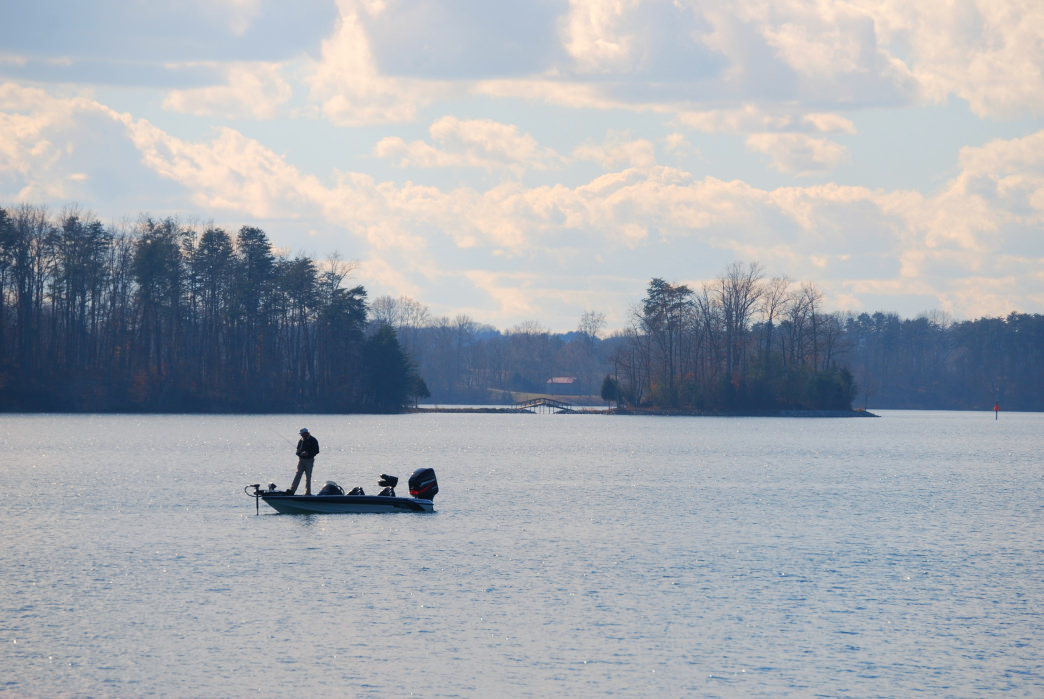 Fishing at Smith Mountain Lake, a tranquil setting that includes 500 miles of shoreline.
