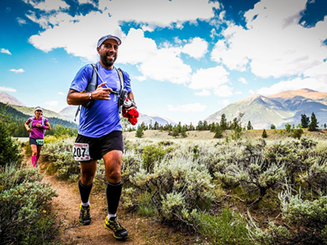 Javier De Jesus in the thick of the TransRockies Run.