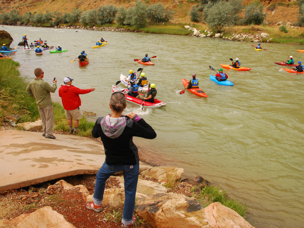 It's a mass start for the Shoshone Canyon Race.