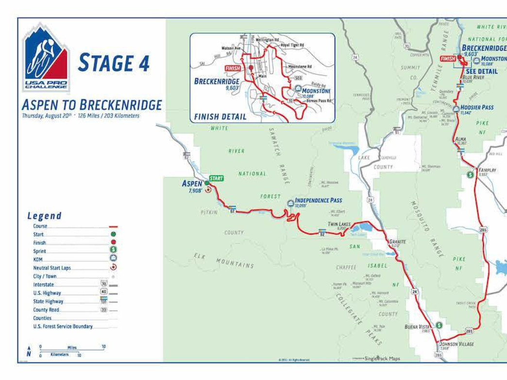 Stage 4  runs from Aspen to  Breckenridge and features more than 126 miles.