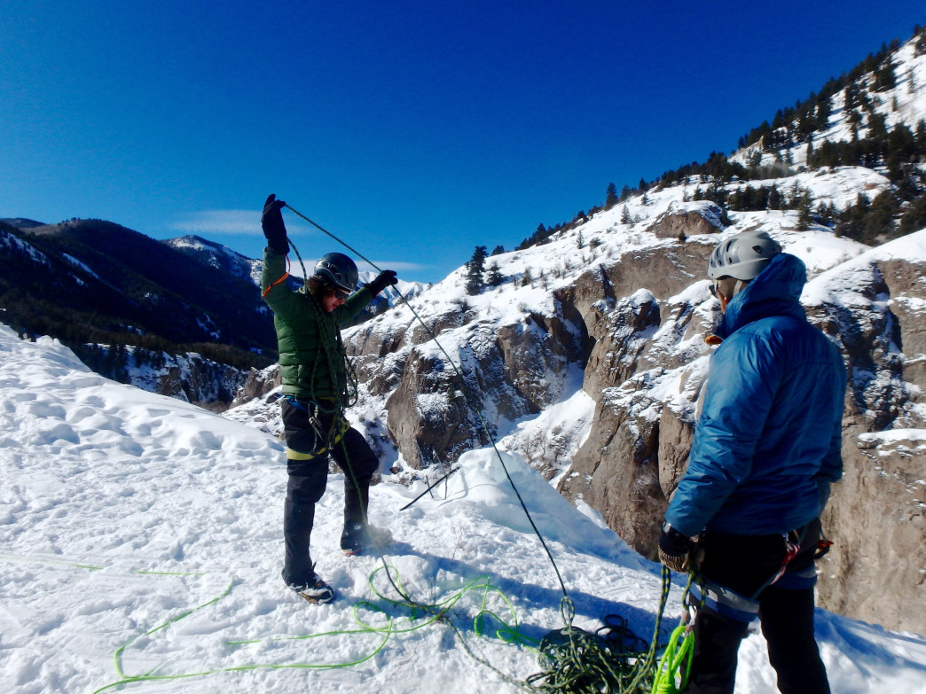Pat Brehm and Bix Firer take advantage of easy toprope access on a bluebird day at Lake City Ice Park.