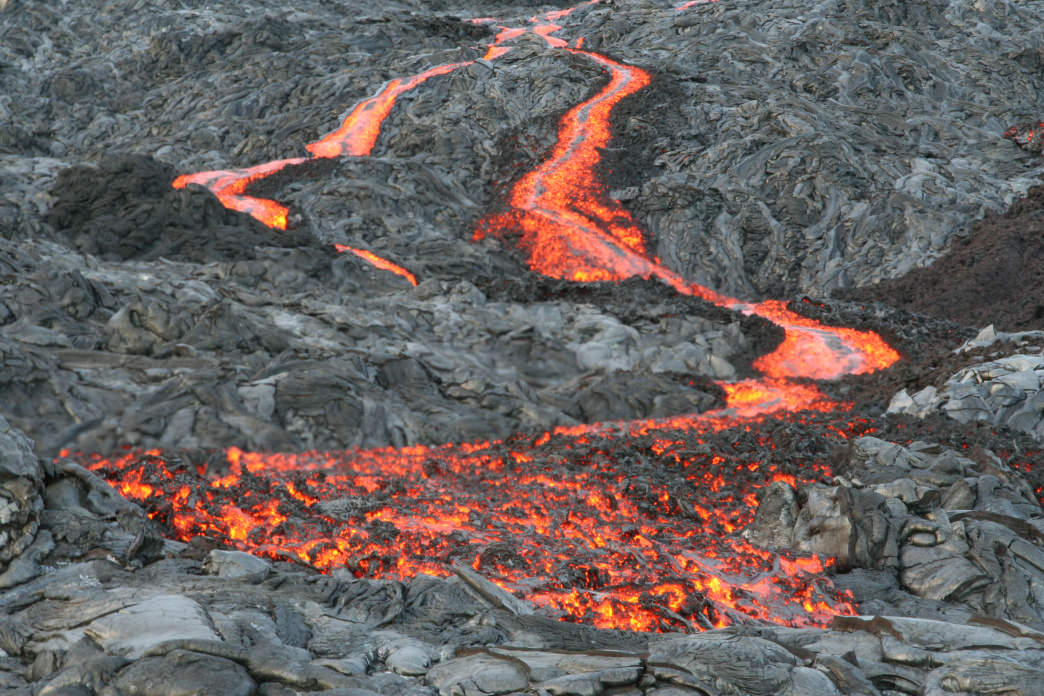 A lava flow at Hawaii Volcanoes National Park.