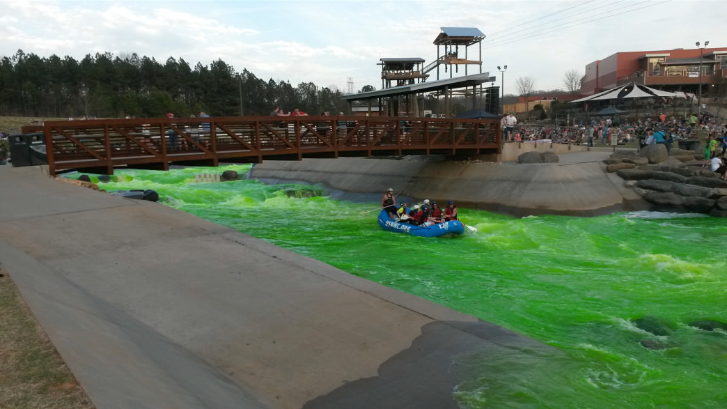 Each St. Patrick's Day the rapids at the USNWC go green.     Rob Glover