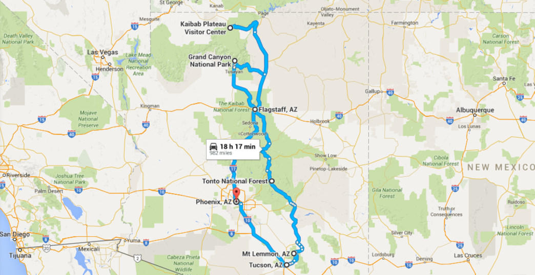 Days In The Grand Canyon State The Ultimate Arizona Road Trip - Road map of arizona