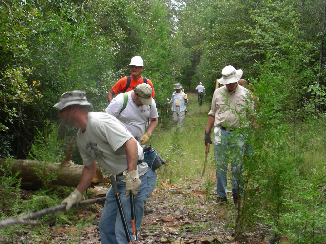 Once approval for a new trail is granted, volunteers begin the actual building process.