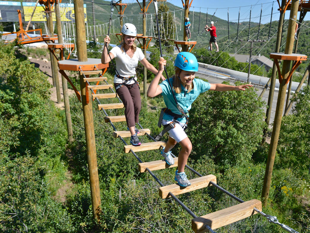 The ropes courses at Utah Olympic Park will get you high off the ground.