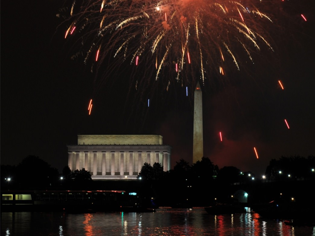 July 4th fireworks viewed by kayak on the Potomac River