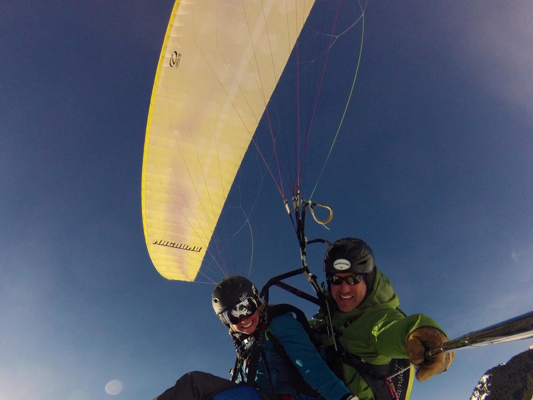 Leap off Rendezvous Mountain for a high-flying adventure with a tandem paragliding pilot.