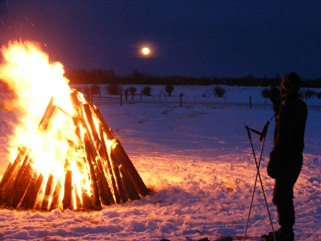 Moonlight and bonfires at Red Lodge Nordic Center.