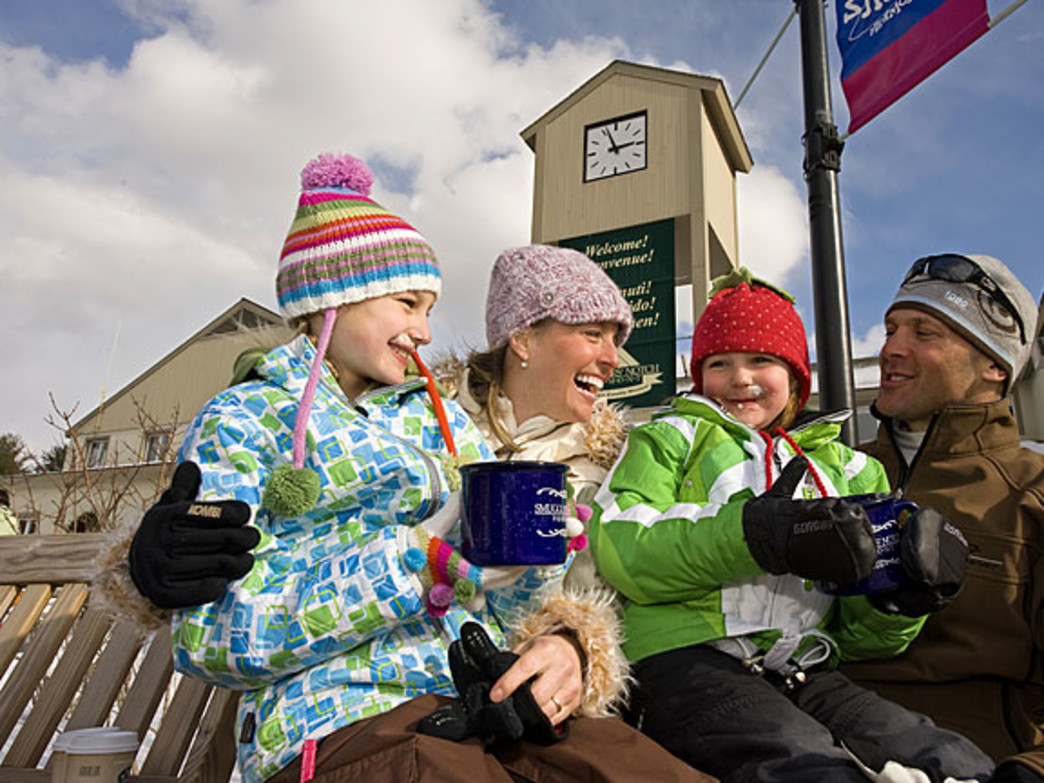 Enjoy hot mugs of cocoa after a day on the slope together.