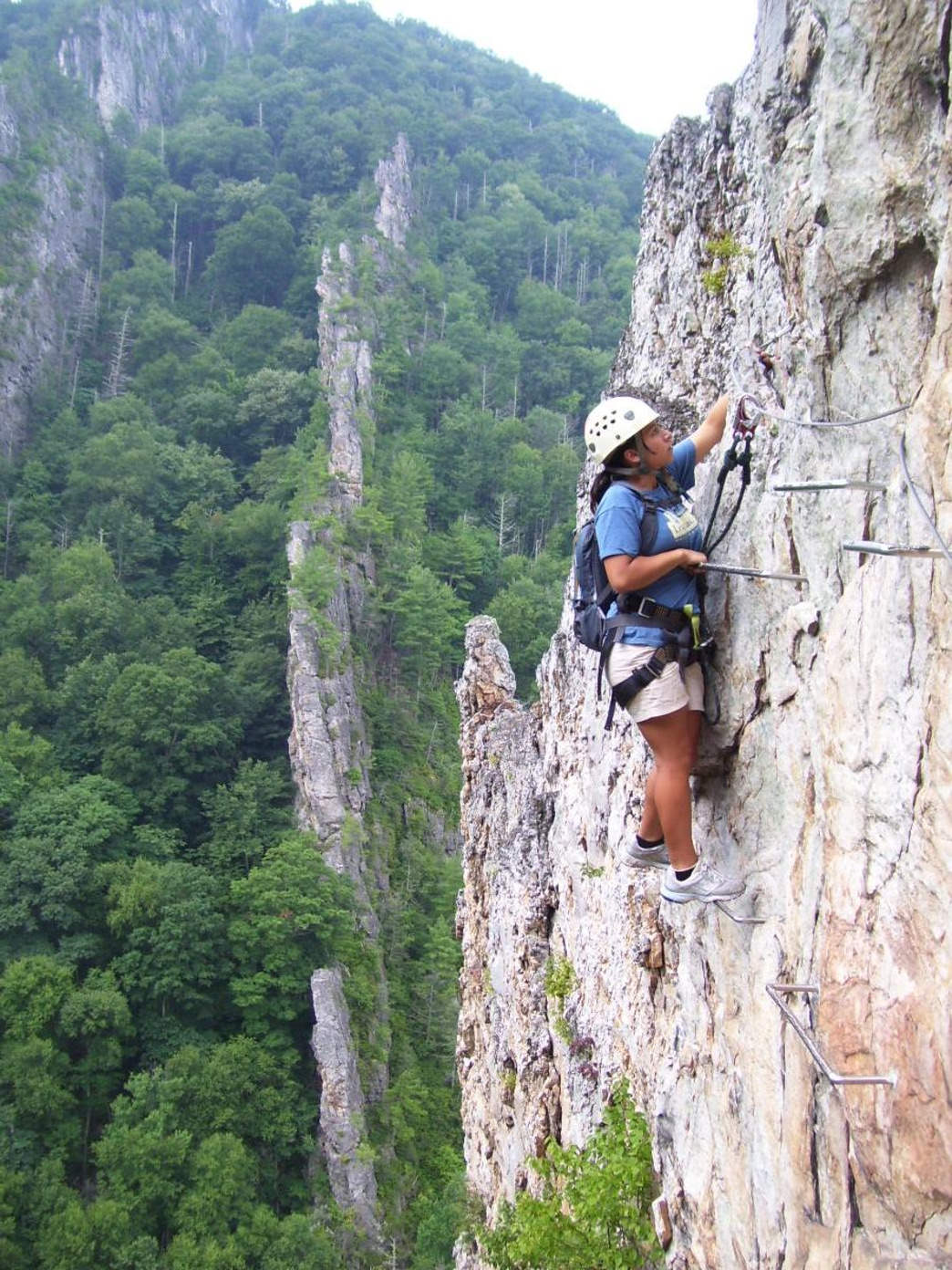 The via ferrata adventure at Nelson Rocks includes a long hike, the actual climb, and crossing a suspension bridge.