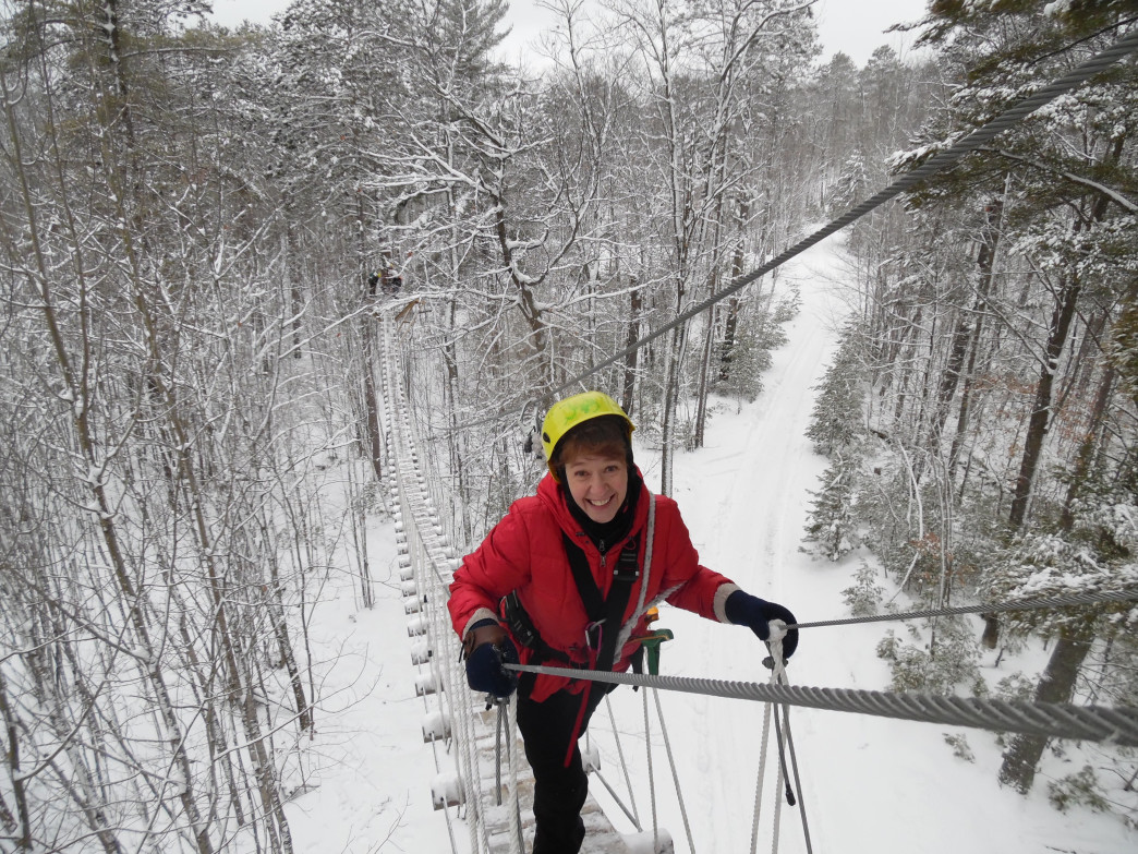 Zip lining in the winter? Just one of the snowy adventures available in Minocqua.