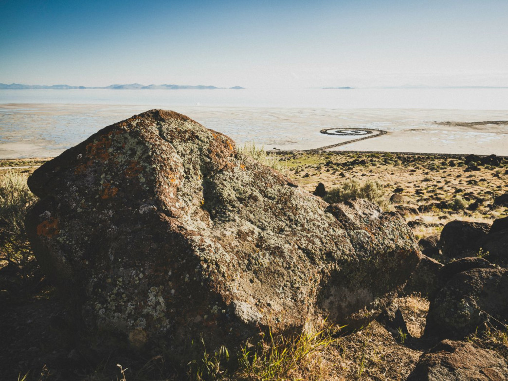 The Spiral Jetty is an earthwork sculpture by the late Robert Smithson. 1500 feet long and 15 feet wide it is made of basalt rock and is located on the northeastern shore of the Great Salt Lake on Rozel Point, Utah