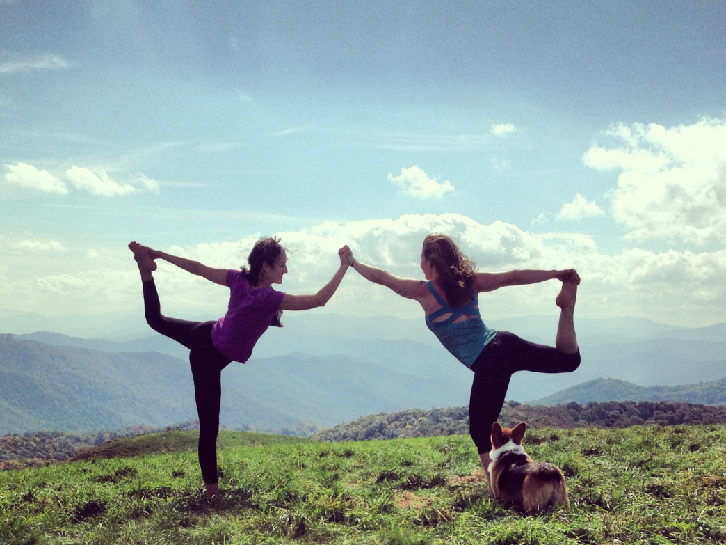 Warrior Pose on the grassy summit of Max Patch.
