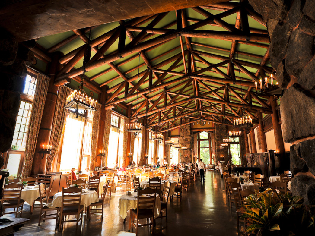The pine-and-stone dining room at the Ahwahnee is a grand place for a meal.