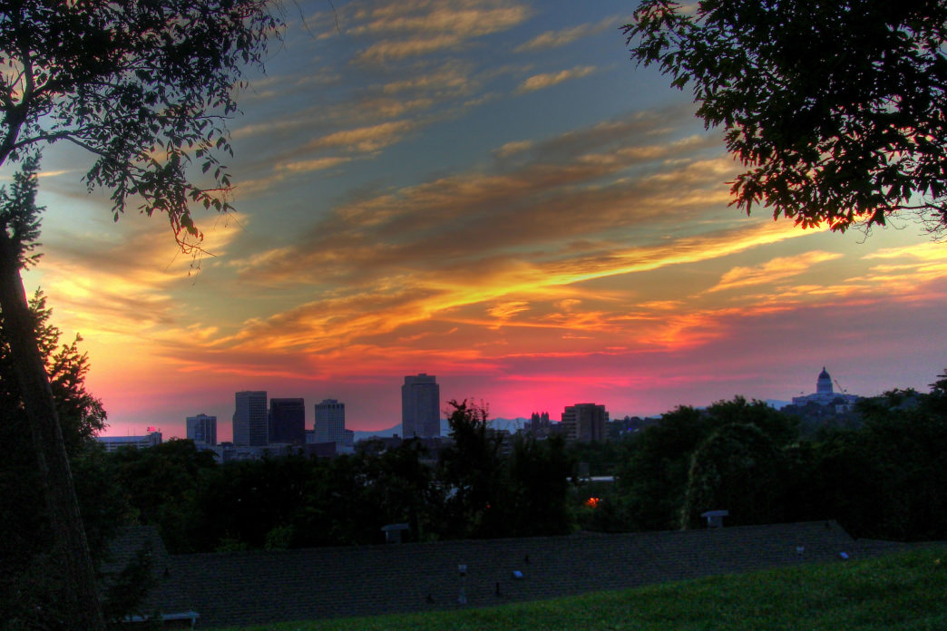 A sunset view from Faultline Park.