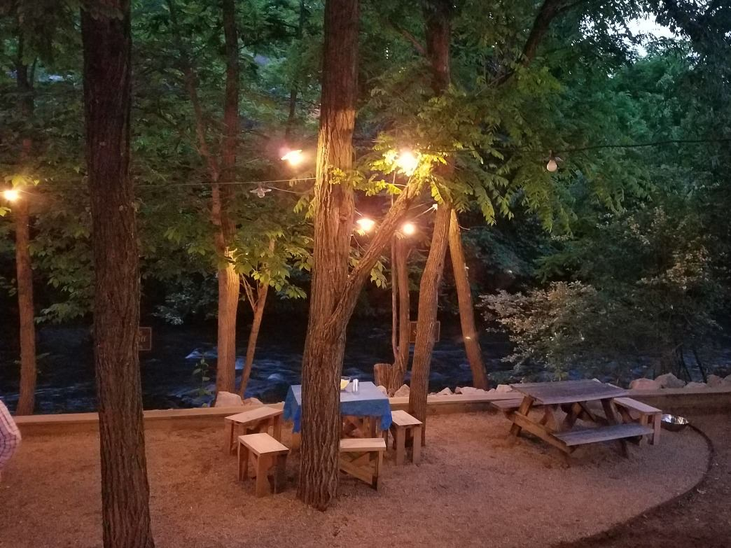 Few outdoor patios will top the creek-side confines of Frog Level Brewing