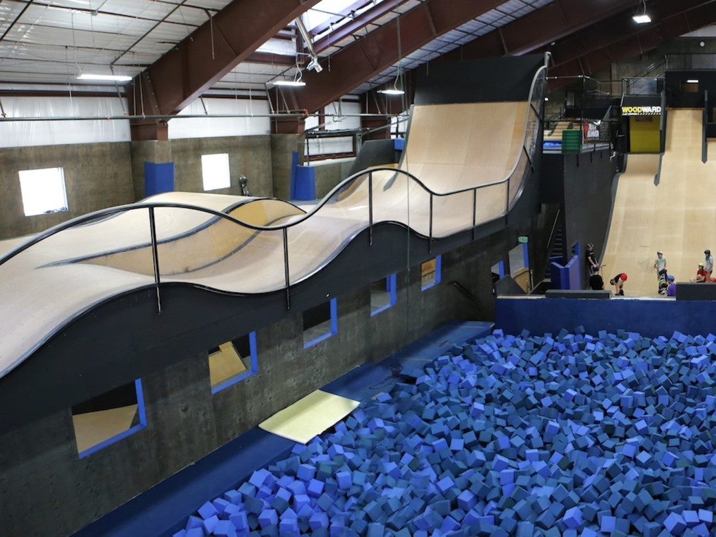 The 19,000-square-foot barn at Woodward Copper is the perfect place to practice tricks.
