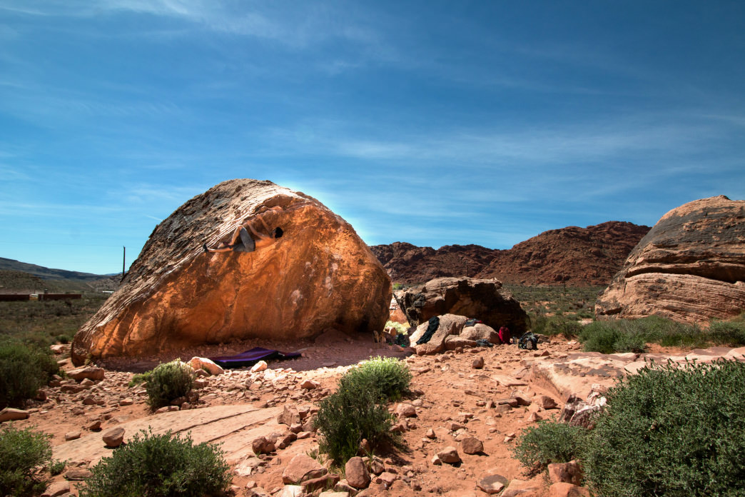Bouldering near Red Rocks at the Kraft Boulders.     Jenna Herzog