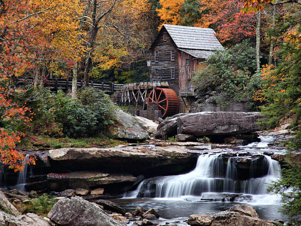 Babcock State Park's Glade Creek has several falls and passes its historic grist mill.