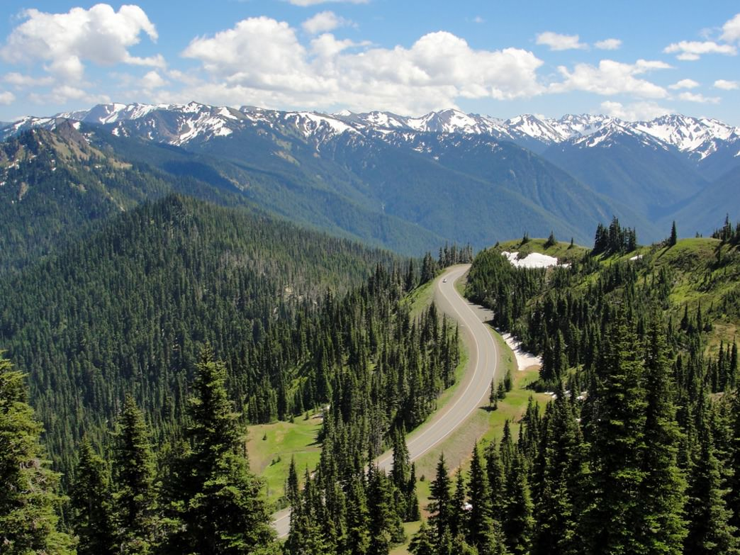 Hurricane Ridge Road from Olympic National Park Mount Angeles Trail.