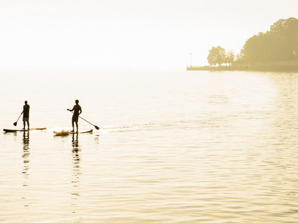 A stand-up paddler's sunset