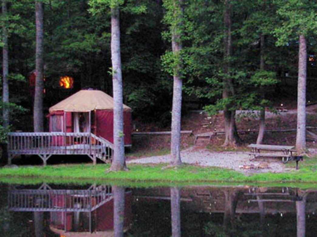 The Nantahala Yurts sit on the banks of two small ponds and above Lake Fontana.