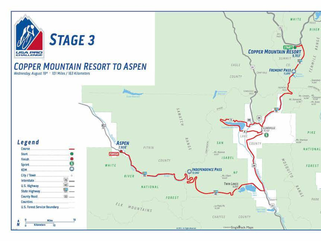 Stage 3 takes athletes 101 miles from Copper Mountain through Twin Lakes and over Independence Pass.