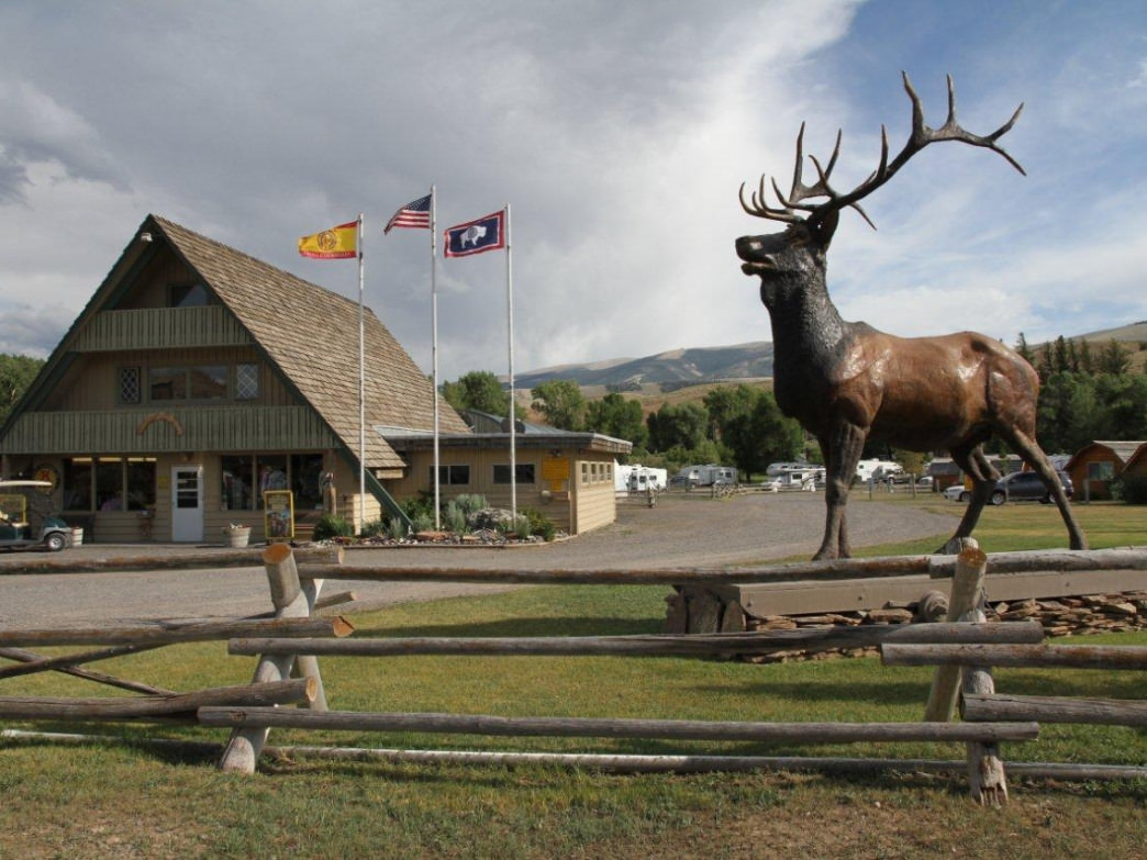 The entrance is extremely welcoming as the stationary directory elk statue greets visitors.