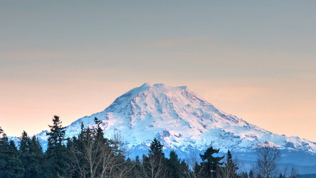 Mount Rainier is especially beautiful layered in winter snow.