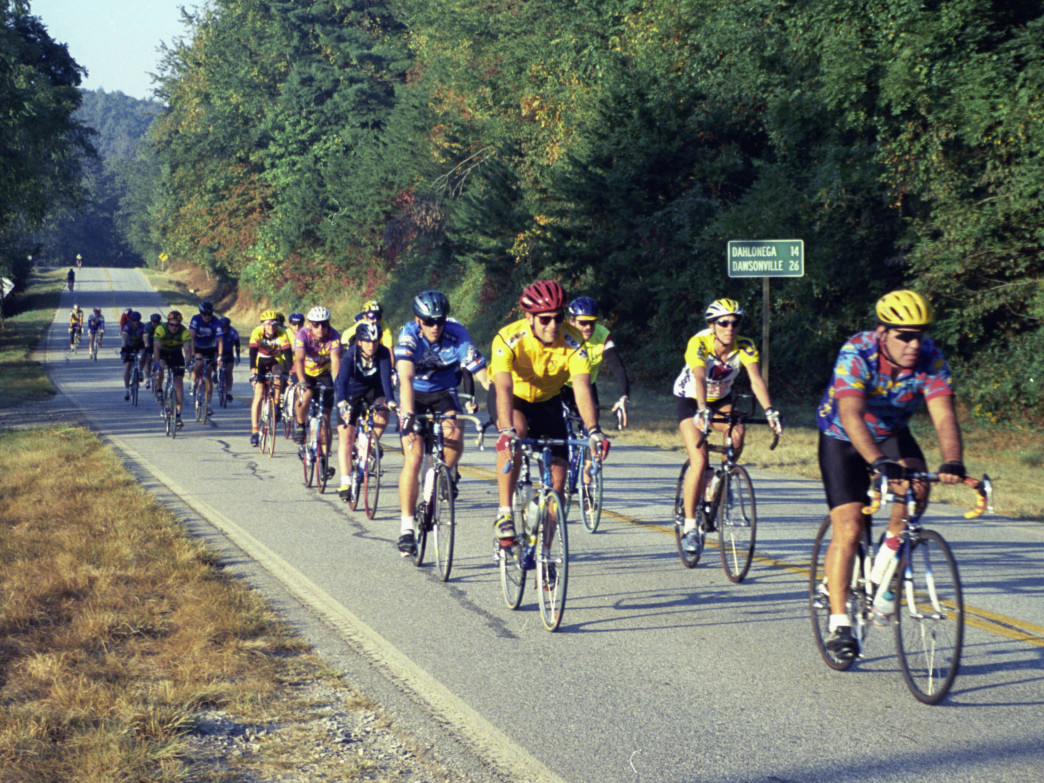 Riders at the Six Gap Century outside Dahlonega.