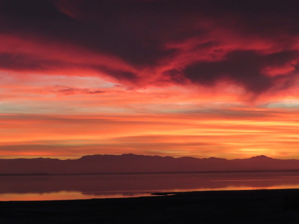 A swirling sunset above the Salton Sea.     Krista Diamond