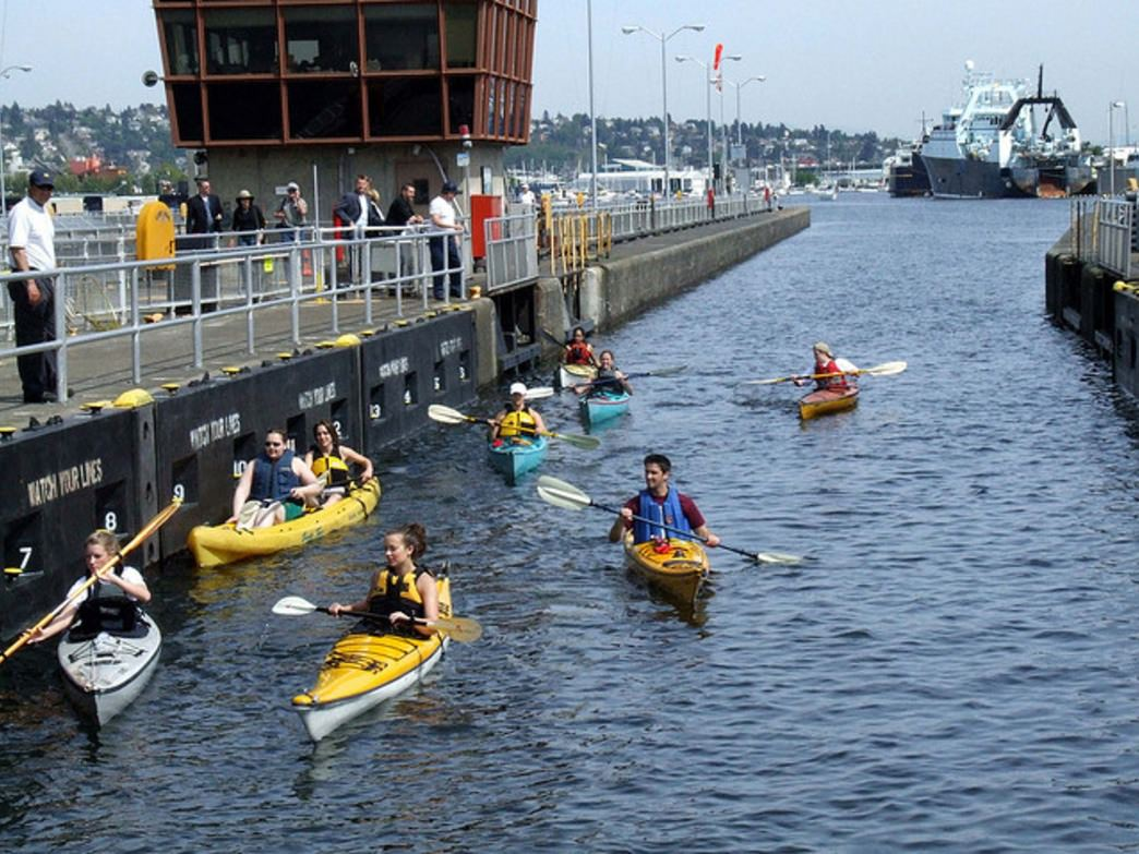 Paddling through the Hiram M. Chittenden Locks, on the way to the Sound.